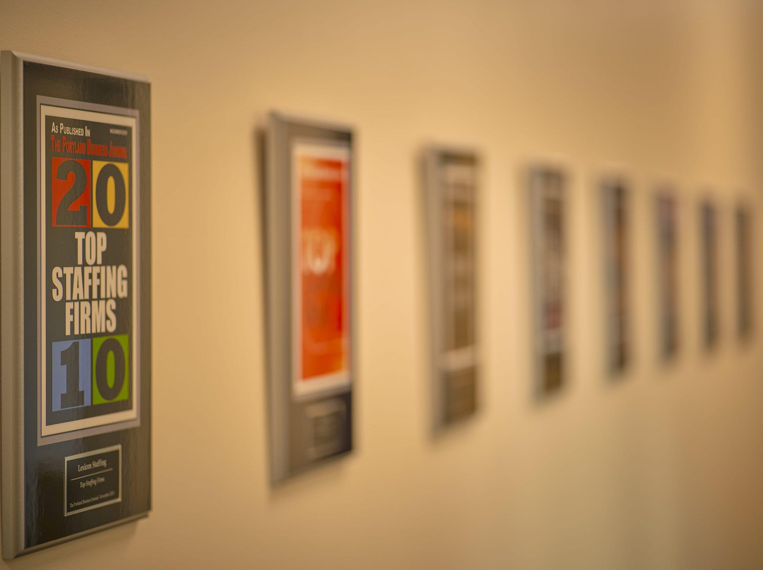 Wall of accolades.